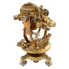 1900s English Antique Brass Tacheometer, serveyor measurement instrument