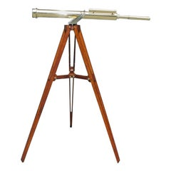 English Brass Telescope on Tripod Stand Signed Negretti & Zambra London, C. 1850