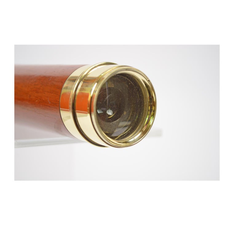 English Brass Telescope with Mahogany Handle For Sale 6