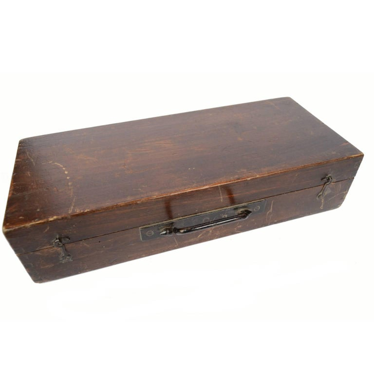 English Brass Telescope with Original Wooden Box Second Half of the 19th Century For Sale 1