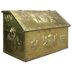 English Brass Trunk with Crests, Lion Pulls, and Wooden Interior, circa 1900