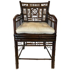 English Brighton Bamboo Regency Style Armchair with Cushion