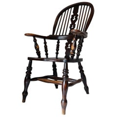 English Broad Arm Windsor Chair, 19th Century, Alder, Large, Yorkshire Country
