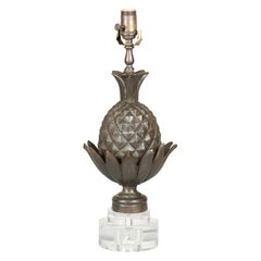 English Bronze Pineapple Wired Table Lamp with Round Lucite Base