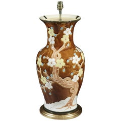 English Brown Ceramic Vase with Floral Design Now Mounted as a Lamp