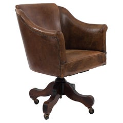 English Brown Leather Swivel Chair
