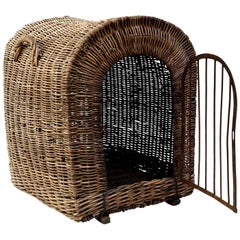 English Brown Wicker Dog Kennel
