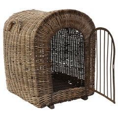 English Brown Wicker Dog Kennel Basket