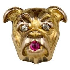 English Bulldog Antique Yellow Gold Diamond and Ruby Pin