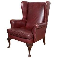 English Burgundy Leather Wingback Armchair