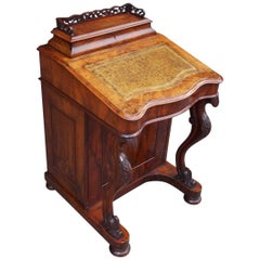 English Burl Walnut Leather Top Davenport with Acanthus Cabriole Legs Circa 1840