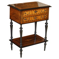 English Burl Walnut Work Table, 1860