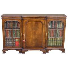 English Burr Walnut Break Front Bookcase