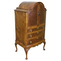 English Burr Walnut Dome Topped Linen Press