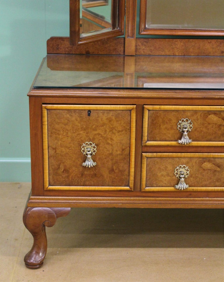 Queen Anne English Burr Walnut Dressing Table by Waring and Gillow For Sale