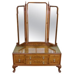 English Burr Walnut Dressing Table by Waring and Gillow