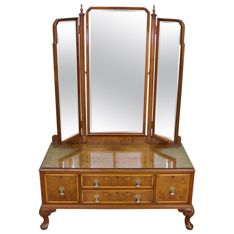 English Burr Walnut Dressing Table by Waring and Gillow For Sale