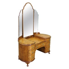 English Burr Walnut Kidney Shaped Dressing Table