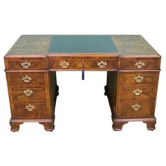 English Burr Walnut Pedestal Desk by Maple & Co.