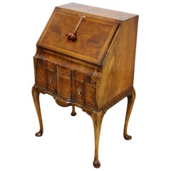 English Burr Walnut Queen Anne Style Bureau