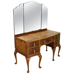 English Burr Walnut Queen Anne Style Dressing Table