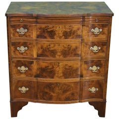 English Burr Walnut Serpentine Fronted Chest of Drawers