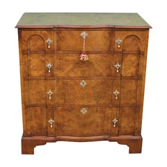 English Burr Walnut Shaped Front Chest of Drawers