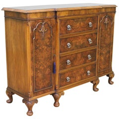 English Burr Walnut Side Cabinet by Maple and Co