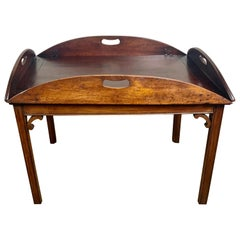 English Butler Style Mahogany Tea Table, circa 1940s