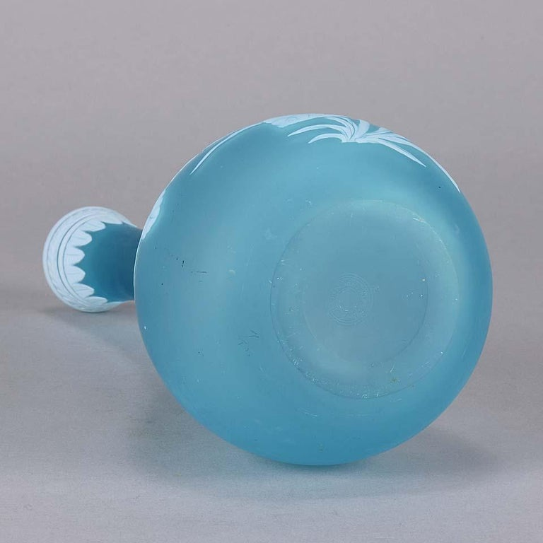 English Cameo Glass Blue Flower Vase by Thomas Webb For Sale 3