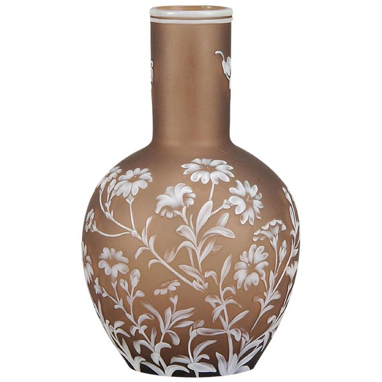 English Cameo Glass Flower Vase by Thomas Webb For Sale