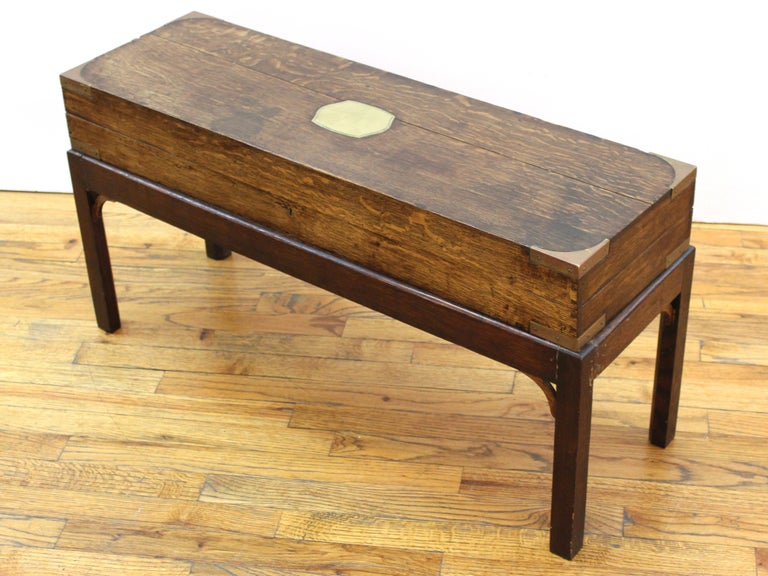 English Campaign Chest Style Storage Box Diminutive Coffee Table In Good Condition For Sale In New York, NY