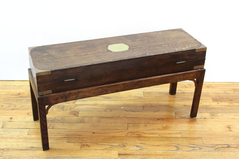 Wood English Campaign Chest Style Storage Box Diminutive Coffee Table For Sale