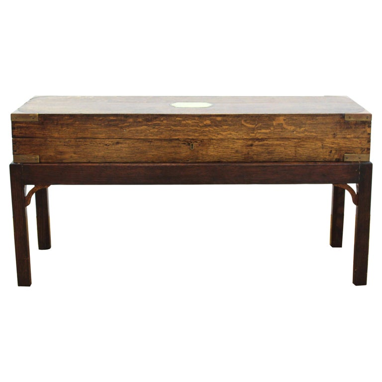 English Campaign Chest Style Storage Box Diminutive Coffee Table For Sale