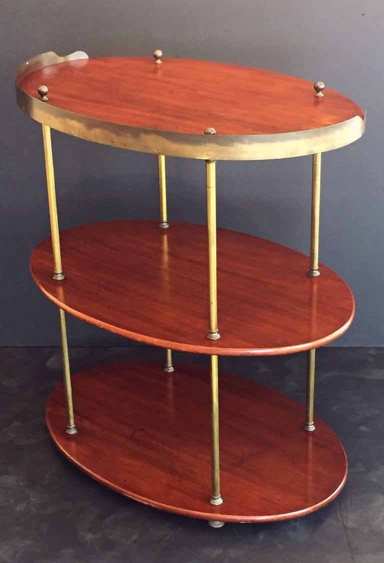 English Campaign Oval Table of Wood and Brass, circa 1880 For Sale 1