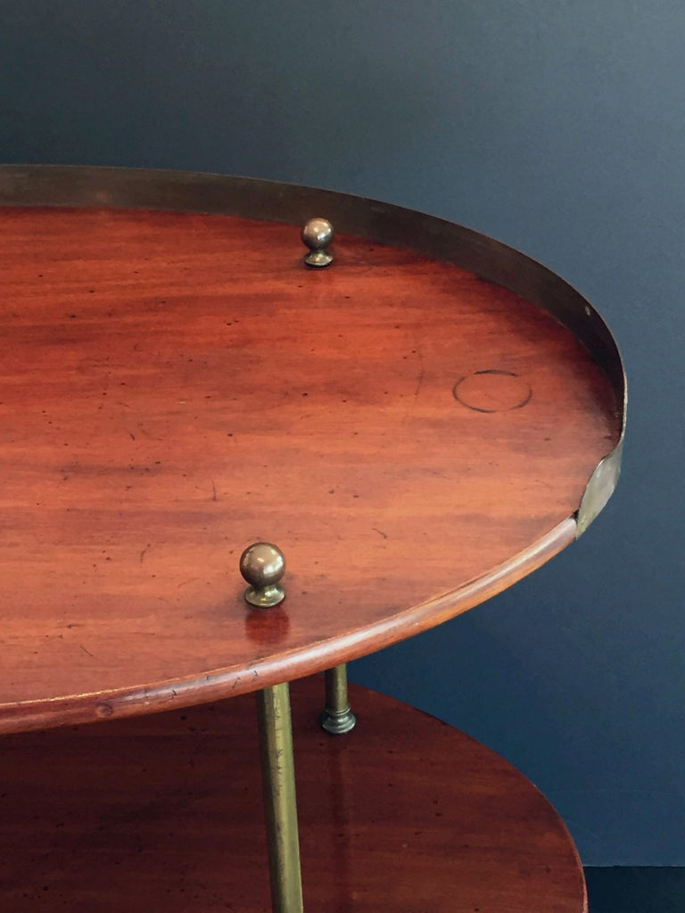 English Campaign Oval Table of Wood and Brass, circa 1880 For Sale 4