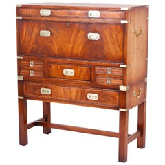 English Campaign Secretary Chest on Stand