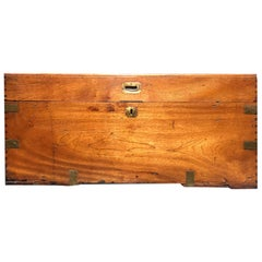 English Campaign Style Camphor Wood Trunk, circa 1840