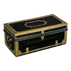 English Campaign Trunk of Brass-Bound Leather and Camphor Wood, circa 1820