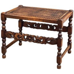 English Caned Bergere Seat or Bench with Carved Wood Stretcher