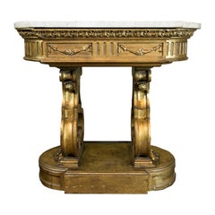 English Carved and Gilt Marble-Top Center Table