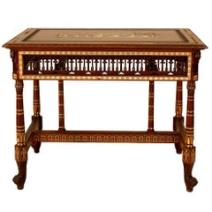 English Carved and Inlaid Egyptian Revival Center Table