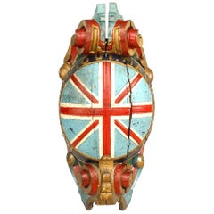 English Carved and Painted Large Figurehead of Union Jack '19th Century'