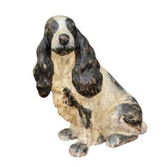 English Carved and Painted Spaniel Dog Sculpture, circa 1920