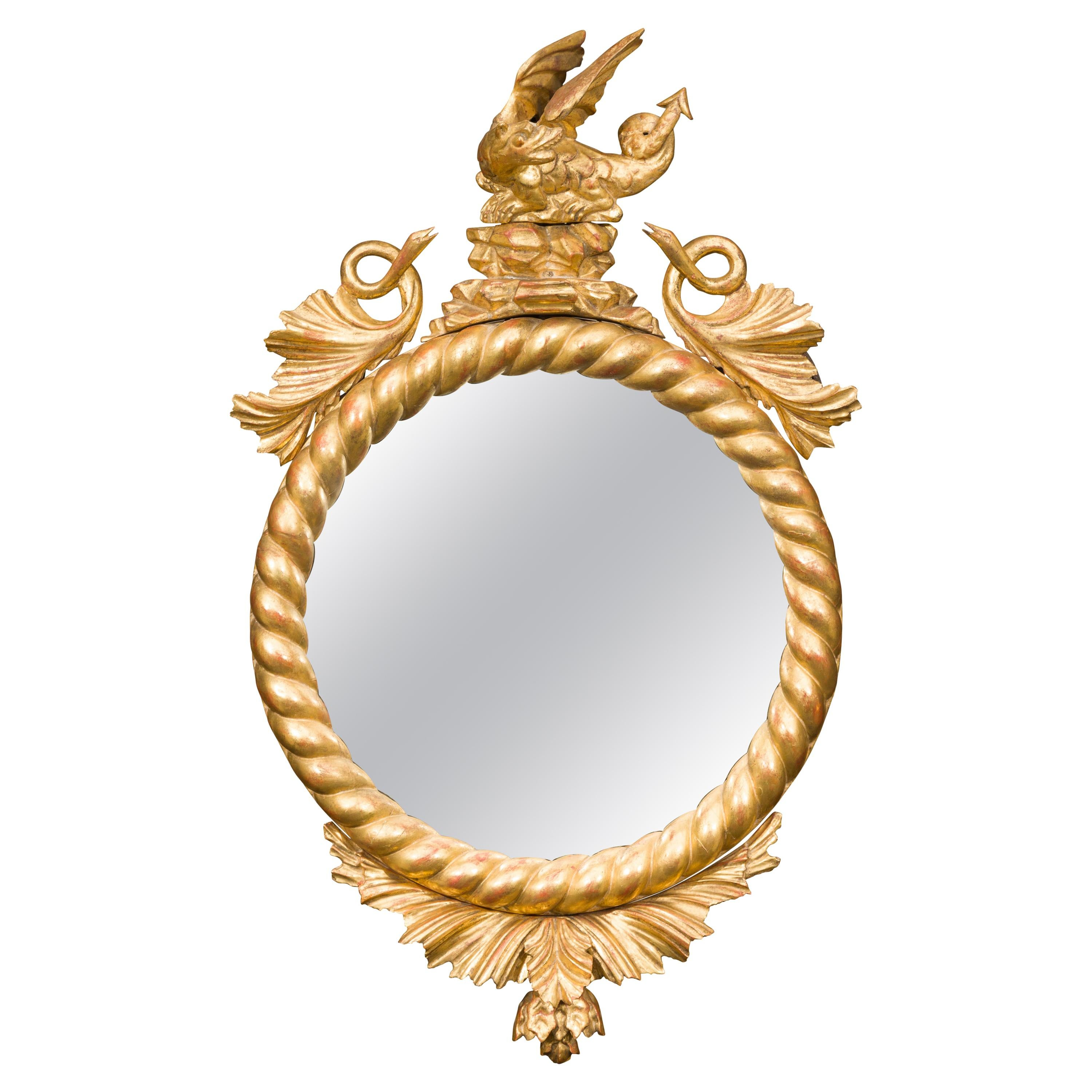 English Carved Giltwood Convex Mirror with Mythical Creatures, circa 1840