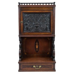 English Carved Inlaid Cabinet