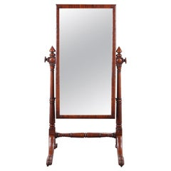 English Carved Mahogany William IV Cheval Mirror