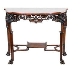 English Carved Marble-Top Console Table