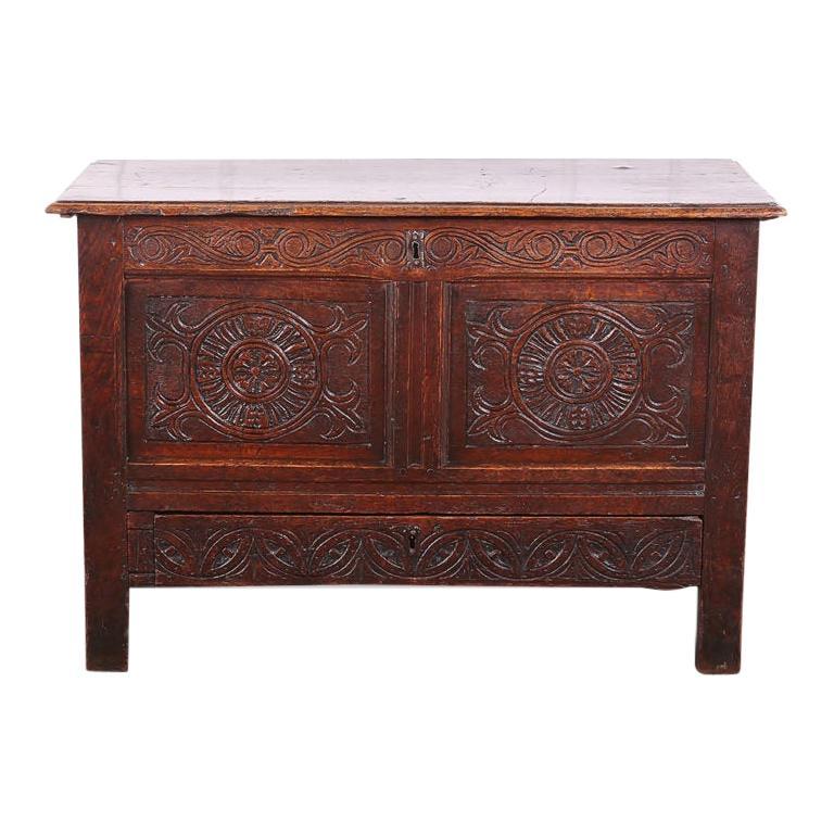 English Carved Oak Blanket Box/Coffer