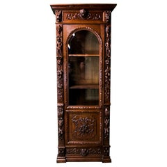 English Carved Oak Book or Display Case